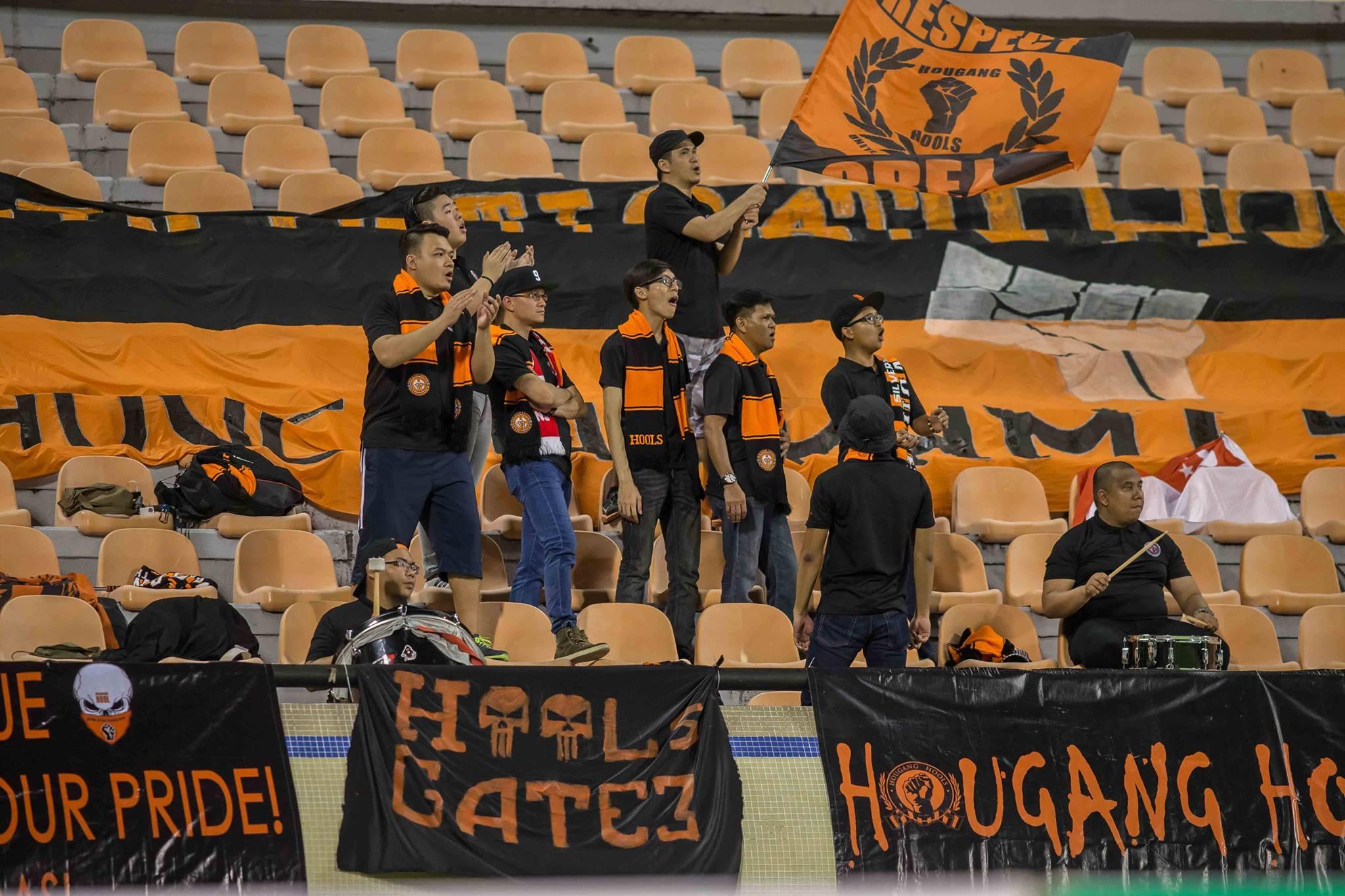 Hougang Hools making their presence felt at the Hassanal Bolkiah stadium.