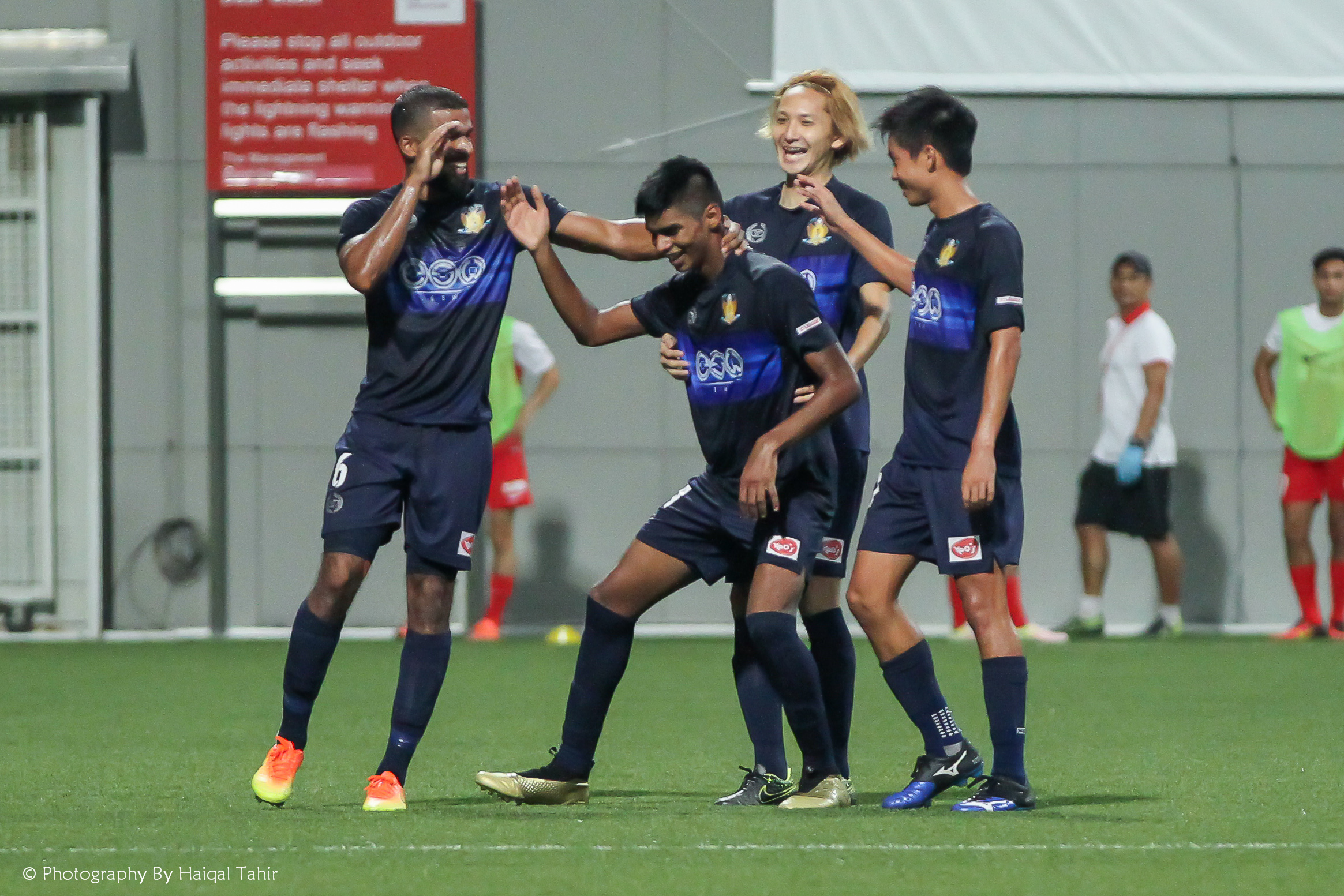 Iqbal celebrating his 20-yards screamer with a dance...