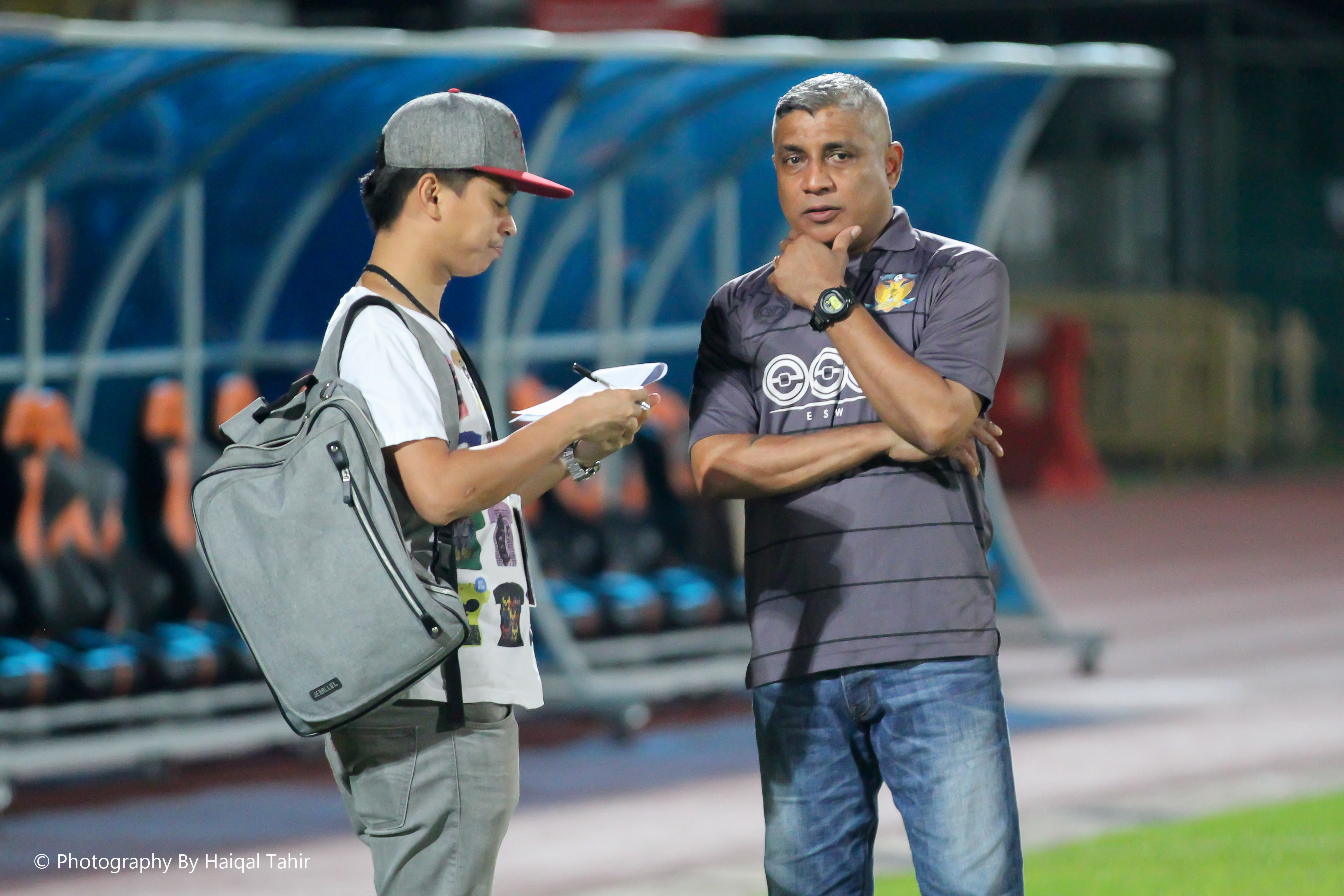 Head coach Bala giving his post-match interview with TNP David Lee.